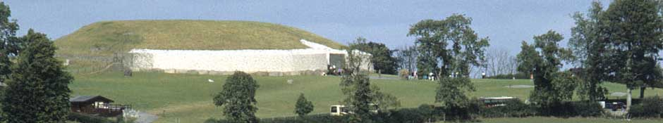 Side view on Newgrange mound (abstract detailed photo)