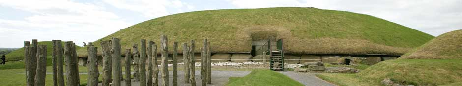 Eastern view of Knowth mound with reconstructed timber circle (abstract detailed photo)