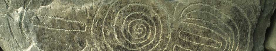 Knowth kerbstone 5 (spiral in centre with crescents on both) (abstract detailed photo)