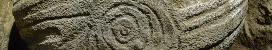 Decorated basin stone in recess on the right of Knowth's east (abstract detailed photo)