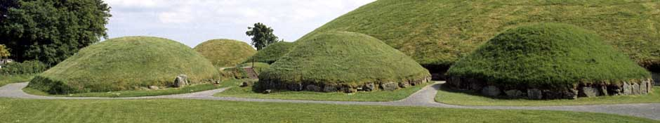 Three smaller mounds in front of main mound of Knowth (abstract detailed photo)