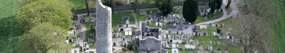 Aerial view of the graveyard at Monasterboice from the west showing the churches and round tower
