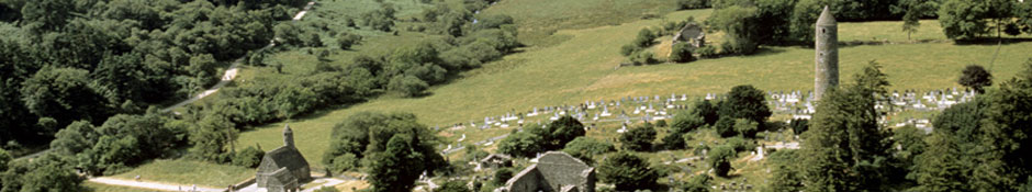 Aerial view of the graveyard at Glendalough from the east with the two lakes in the background (abstract detail photo)