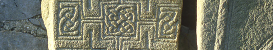 An early medieval cross slab with inscription at Durrow (abstract detail photo)